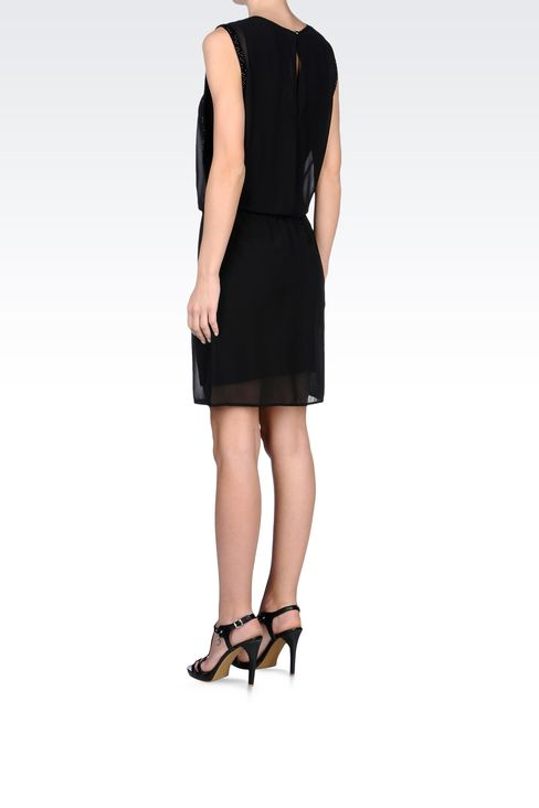 SEE-THROUGH EFFECT DRESS WITH BEADS: Short Dresses Women by Armani - 3