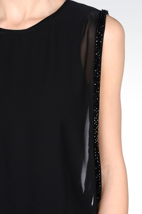 SEE-THROUGH EFFECT DRESS WITH BEADS: Short Dresses Women by Armani - 4