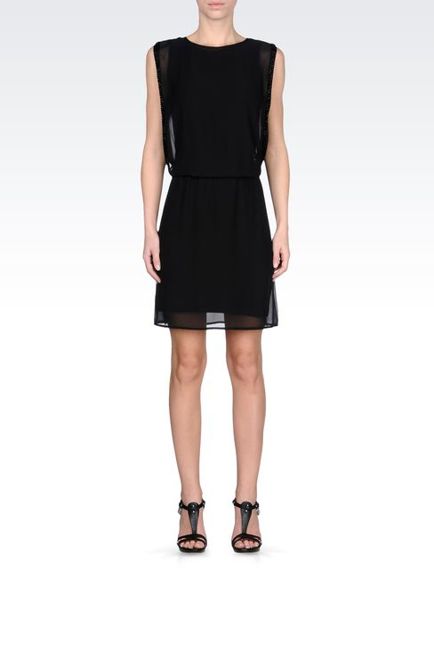 SEE-THROUGH EFFECT DRESS WITH BEADS: Short Dresses Women by Armani - 1