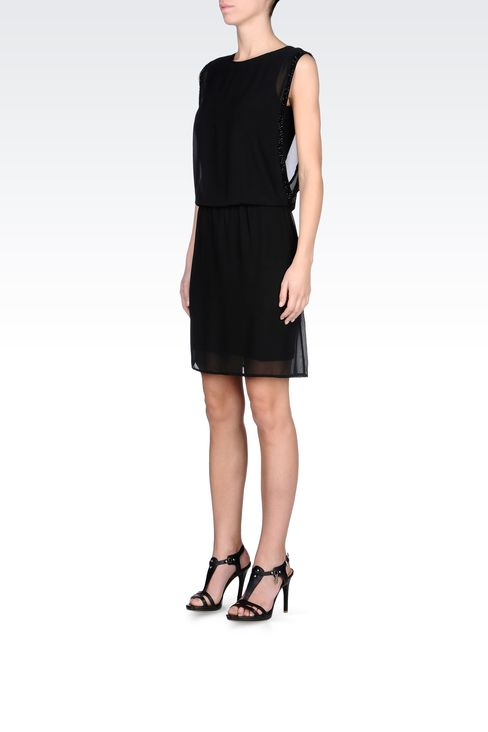 SEE-THROUGH EFFECT DRESS WITH BEADS: Short Dresses Women by Armani - 2