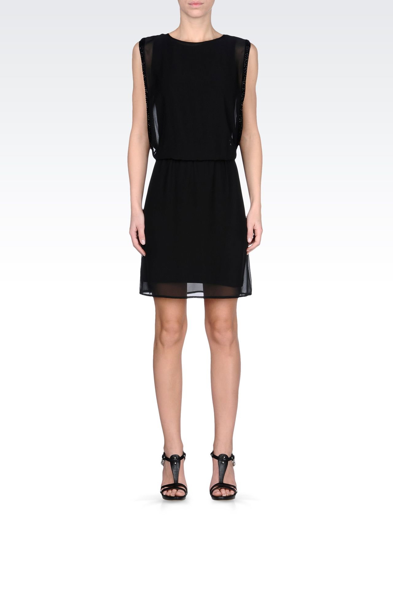 SEE-THROUGH EFFECT DRESS WITH BEADS: Short Dresses Women by Armani - 0