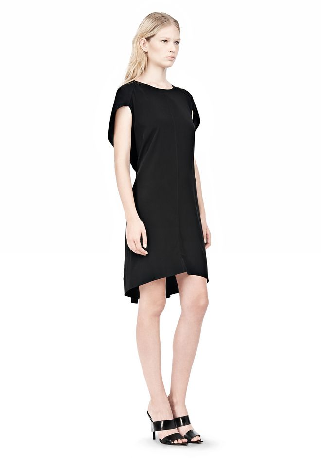ALEXANDER WANG VACUUM PRESSED IRREGULAR PLEAT BACK DRESS Short Dress Adult 12_n_e