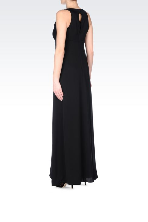 LONG SILK DRESS WITH DRAPED NECKLINE: Long dresses Women by Armani - 3