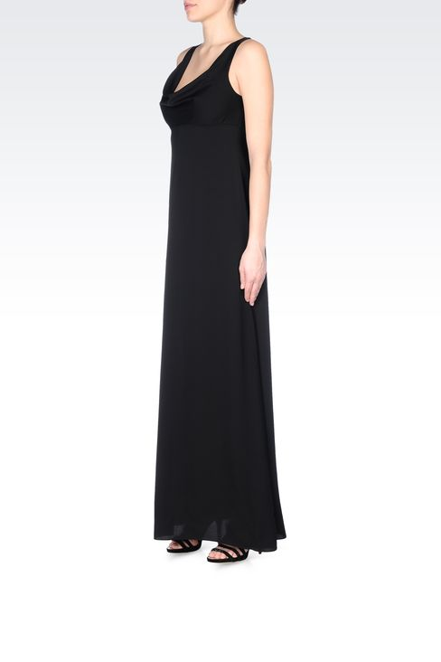 LONG SILK DRESS WITH DRAPED NECKLINE: Long dresses Women by Armani - 2