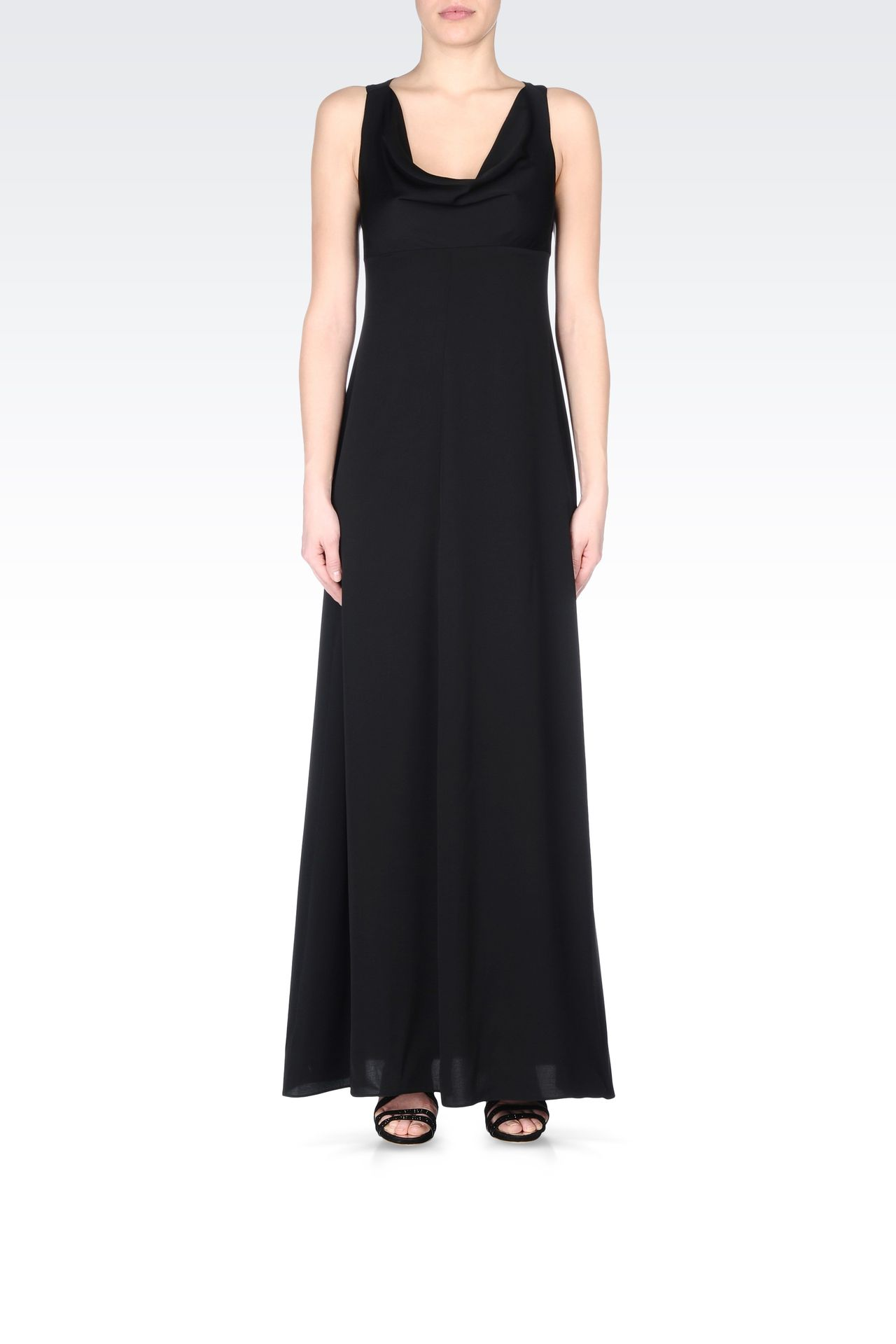 LONG SILK DRESS WITH DRAPED NECKLINE: Long dresses Women by Armani - 0