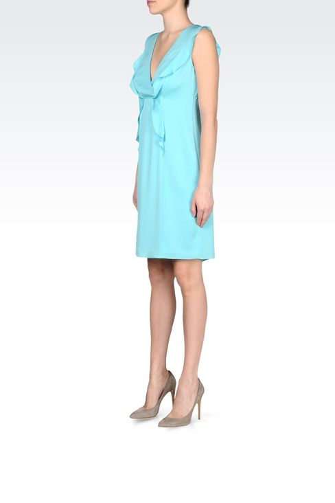 CADY SILK DRESS WITH RUFFLE: Short Dresses Women by Armani - 2