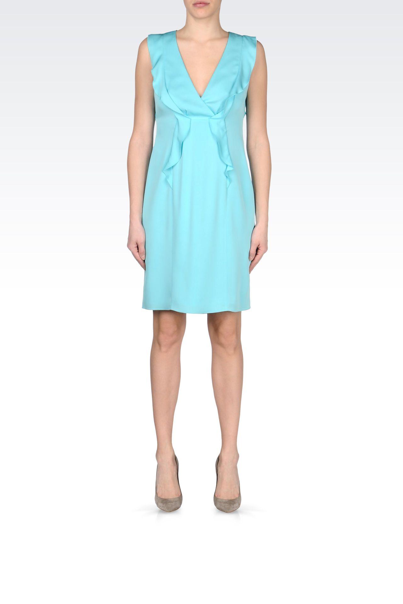 CADY SILK DRESS WITH RUFFLE: Short Dresses Women by Armani - 0