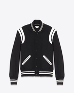 Classic Teddy Jacket Black Wool and Ivory Leather
