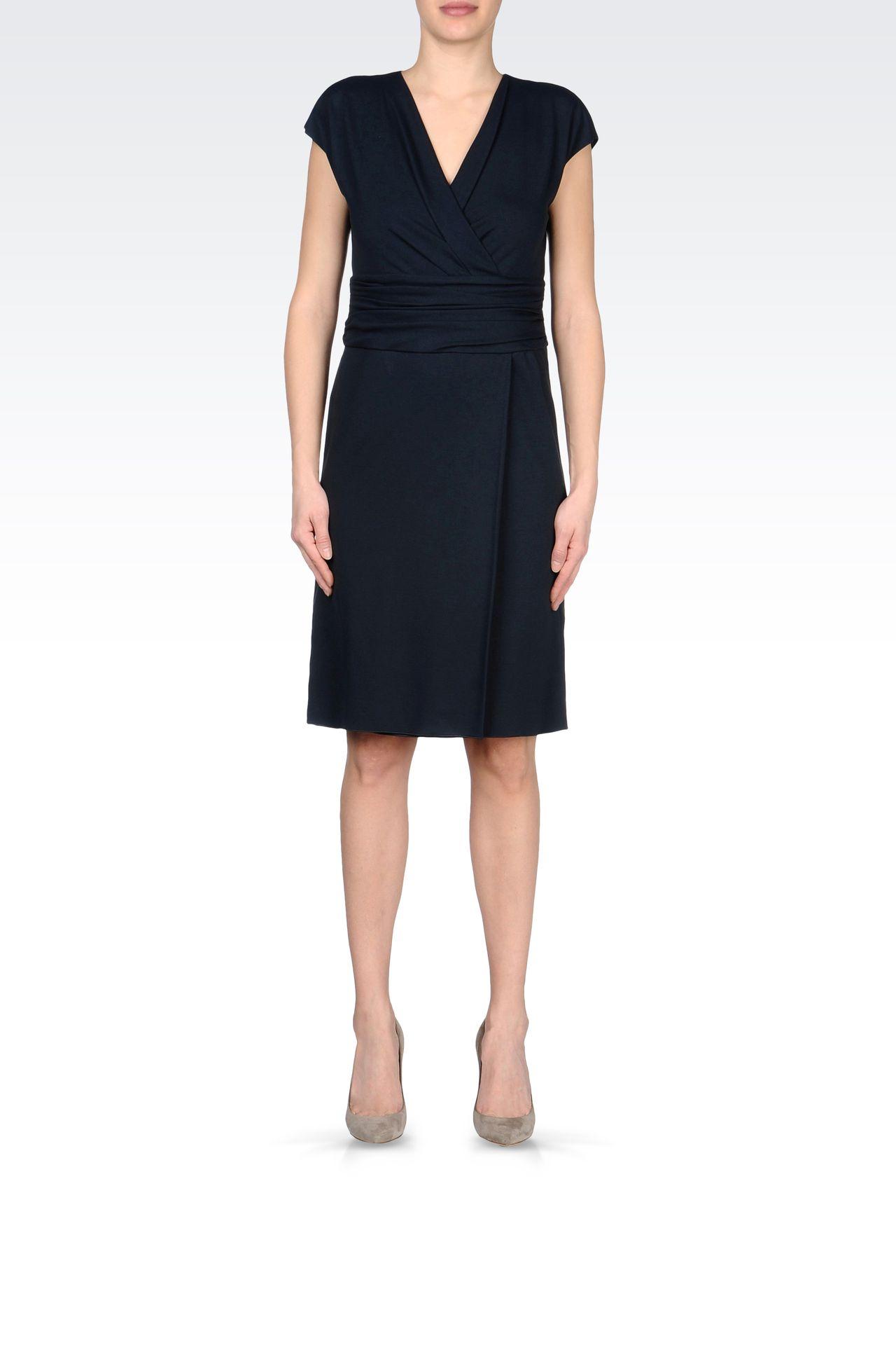 JERSEY DRESS WITH V-NECK: Jersey dresses Women by Armani - 0