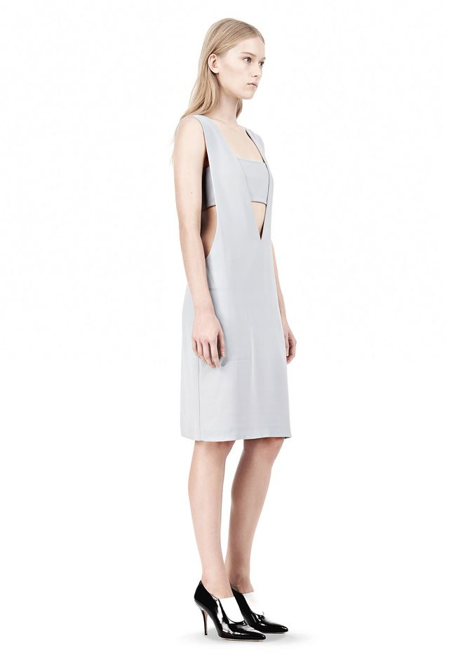 T by ALEXANDER WANG POLY CREPE LOW V-NECK DRESS WITH BANDEAU INSERT Short Dress Adult 12_n_e