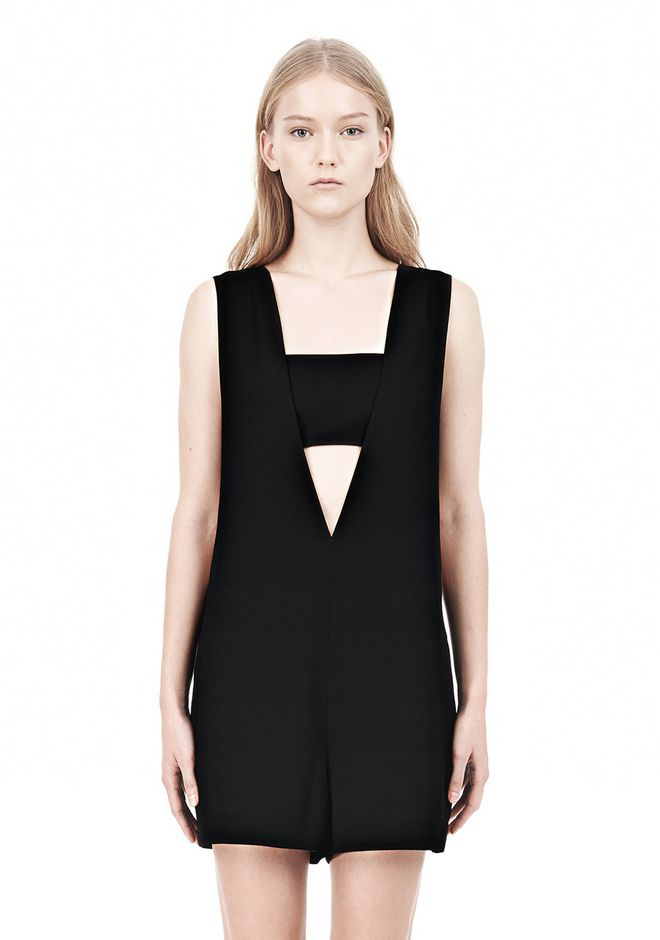 T by ALEXANDER WANG POLY CREPE LOW V-NECK ROMPER WITH BANDEAU INSERT Short Dress Adult 12_n_d