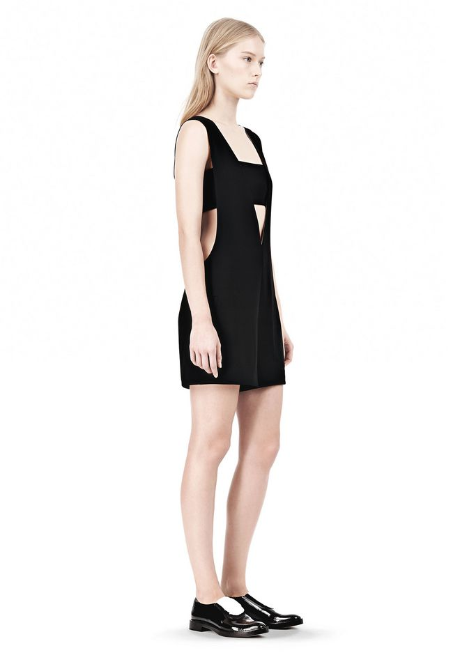 T by ALEXANDER WANG POLY CREPE LOW V-NECK ROMPER WITH BANDEAU INSERT Short Dress Adult 12_n_e