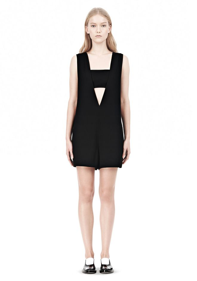 T by ALEXANDER WANG POLY CREPE LOW V-NECK ROMPER WITH BANDEAU INSERT