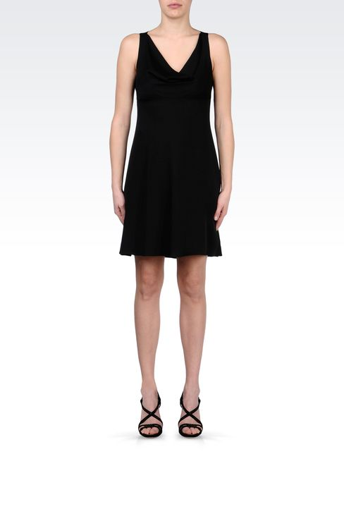 CADY DRESS WITH DRAPED NECKLINE: Short Dresses Women by Armani - 1