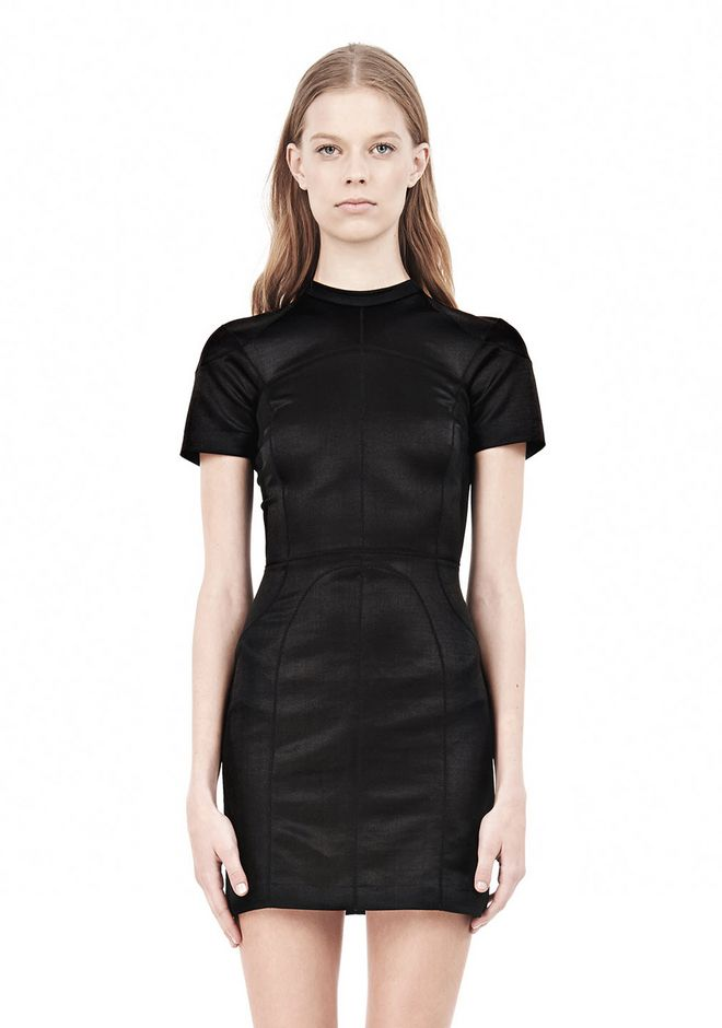 T by ALEXANDER WANG SHINY DOUBLE KNIT MOCK NECK SCUBA DRESS Short Dress Adult 12_n_d