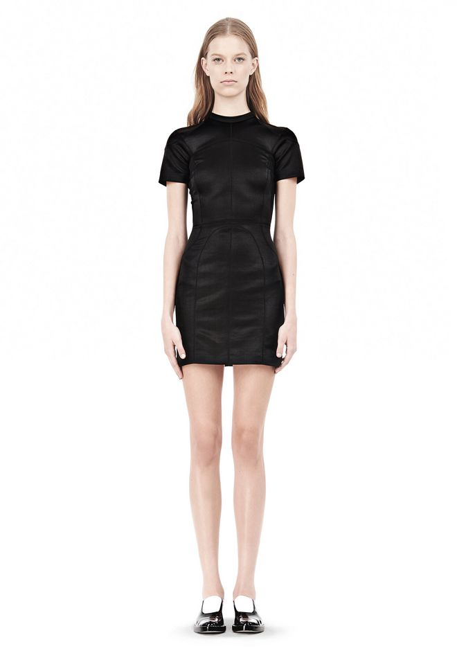 SHINY DOUBLE KNIT MOCK NECK SCUBA DRESS