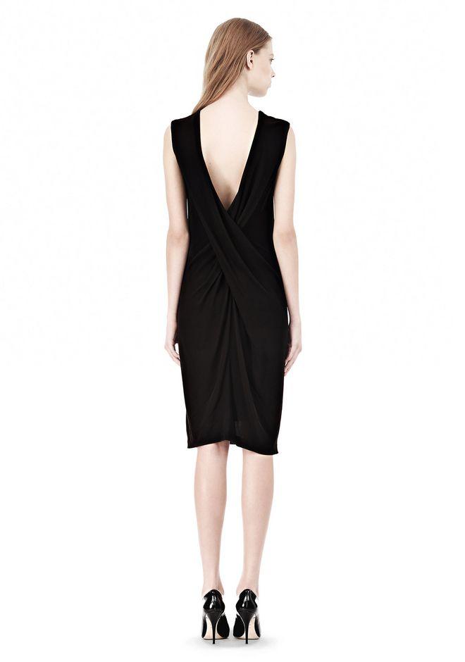 T by ALEXANDER WANG MATTE JERSEY DRESS WITH CRISSCROSS DRAPE BACK Short Dress Adult 12_n_r