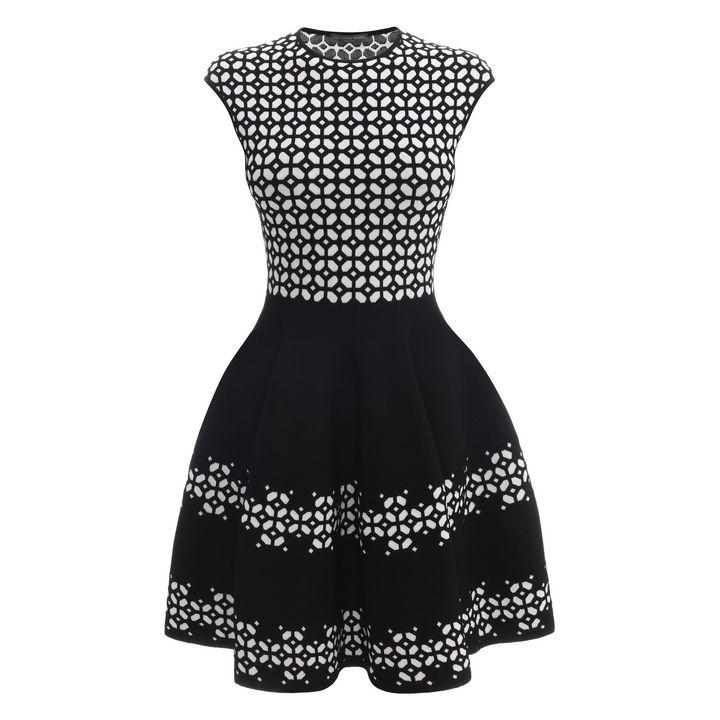 Alexander McQueen, Grid Jacquard Knit Dress