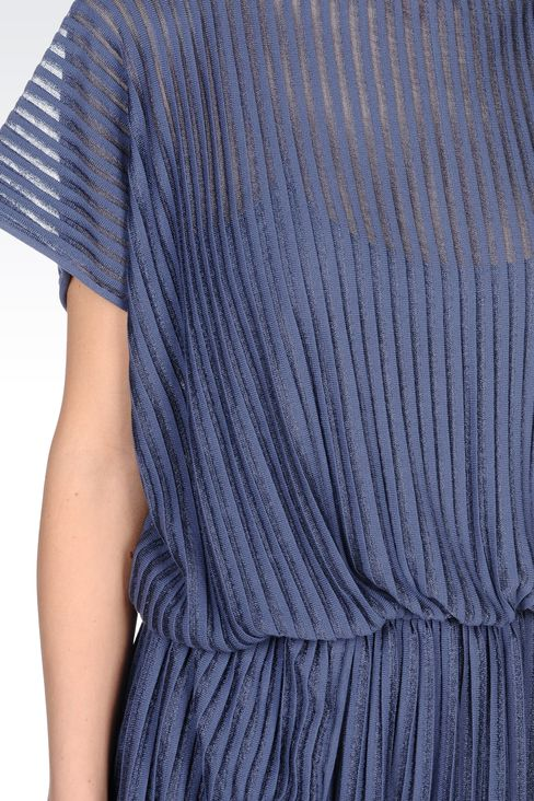 PLEATED DRESS IN VISCOSE MIX: Short Dresses Women by Armani - 4