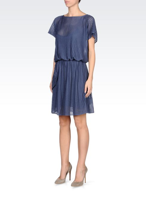PLEATED DRESS IN VISCOSE MIX: Short Dresses Women by Armani - 2
