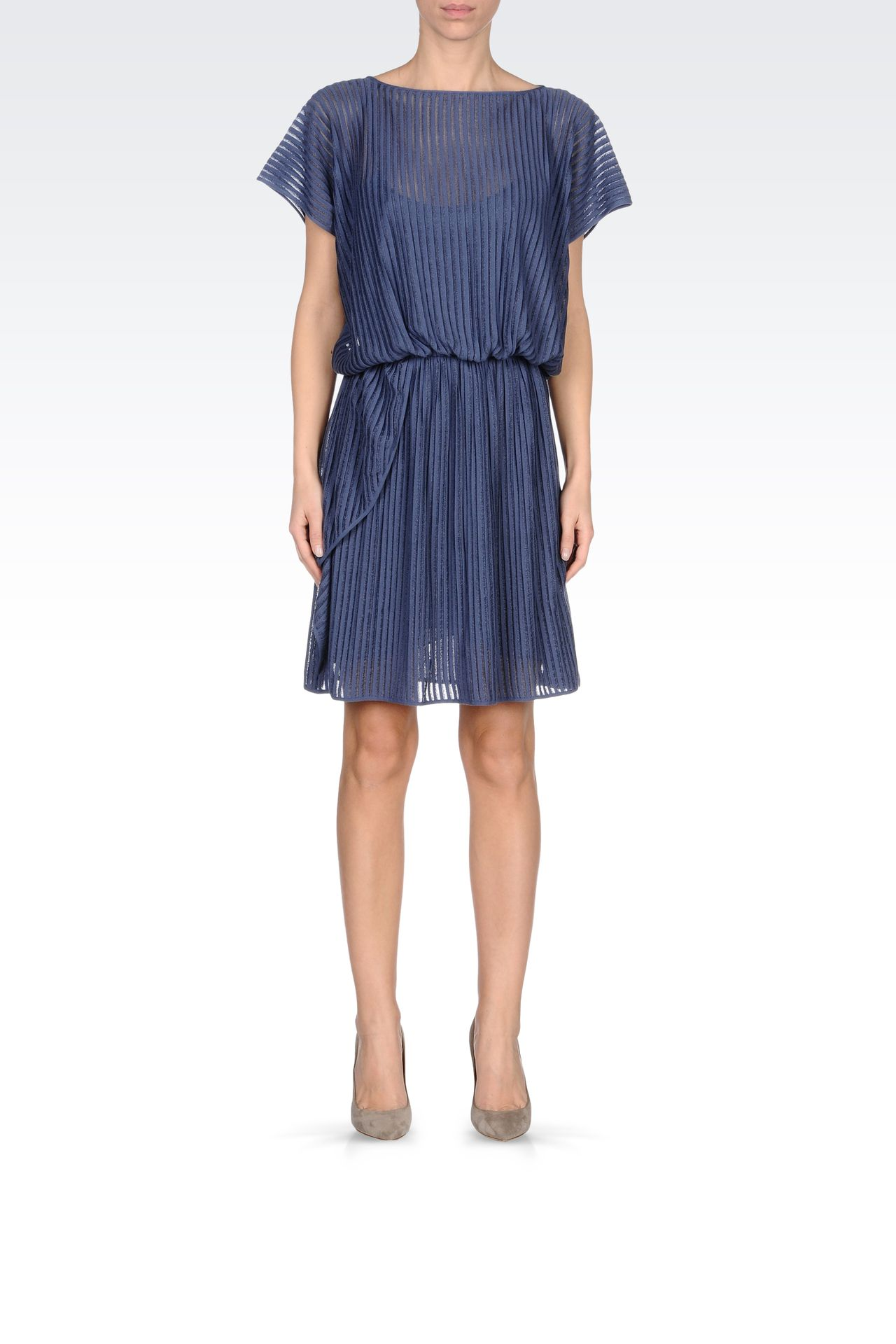 PLEATED DRESS IN VISCOSE MIX: Short Dresses Women by Armani - 0