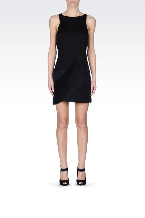 VISCOSE DRESS WITH PLEATED MOTIF: Short Dresses Women by Armani - 1