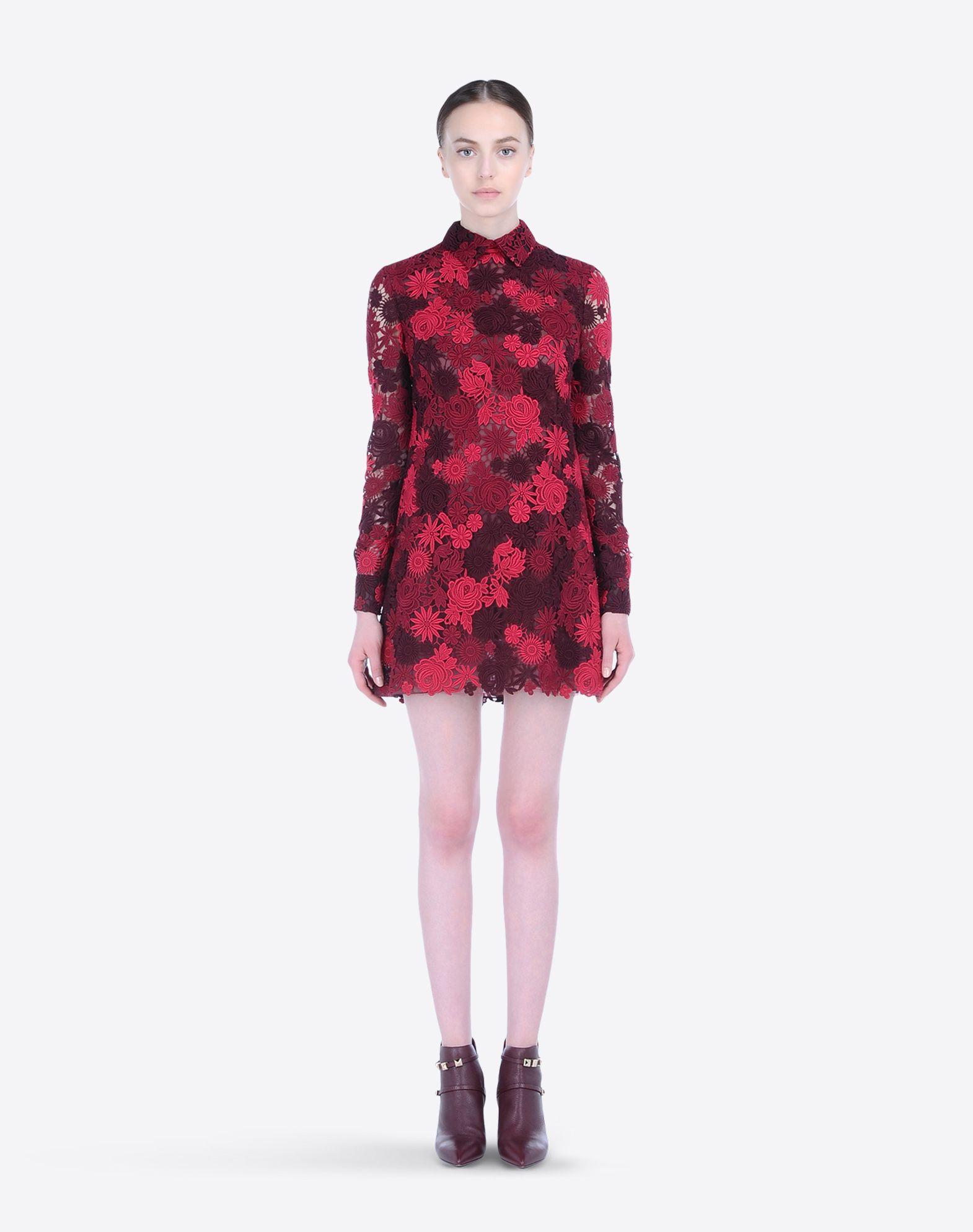 valentino scarlet dress in macram kleider f r sie valentino online shop. Black Bedroom Furniture Sets. Home Design Ideas