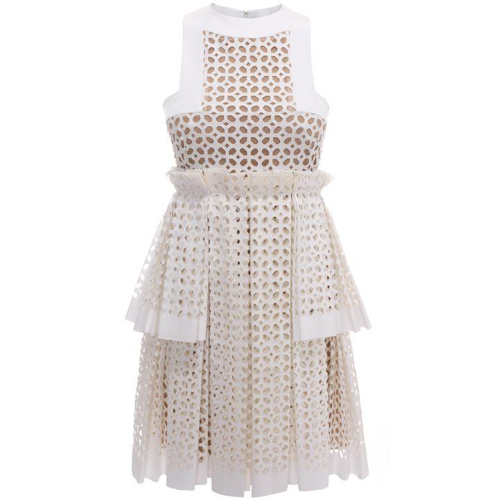 Alexander McQueen, Laser Cut Box Pleat Dress