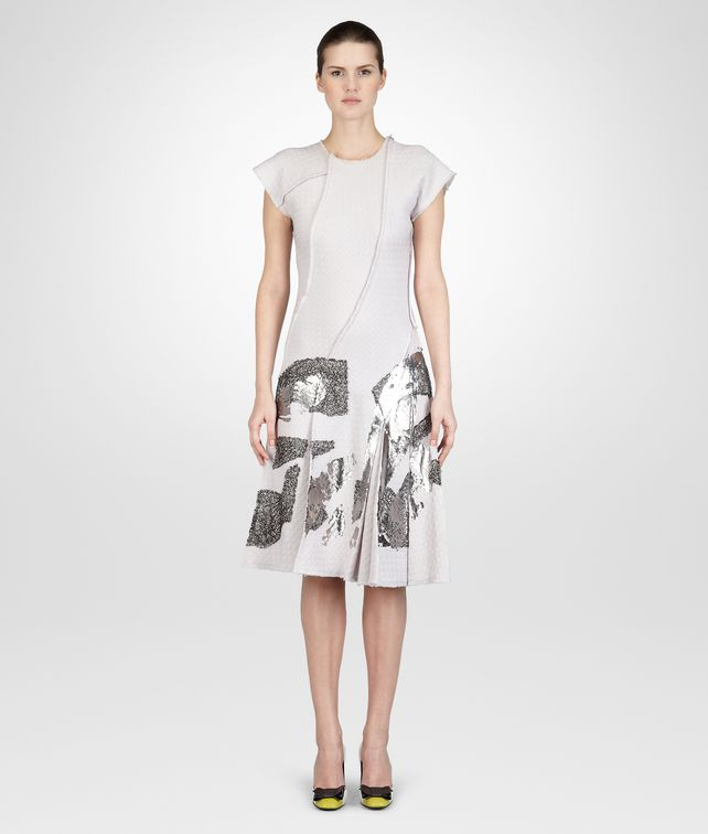 MIST SILVER  JACQUARD LAMINATED PRINT DRESS