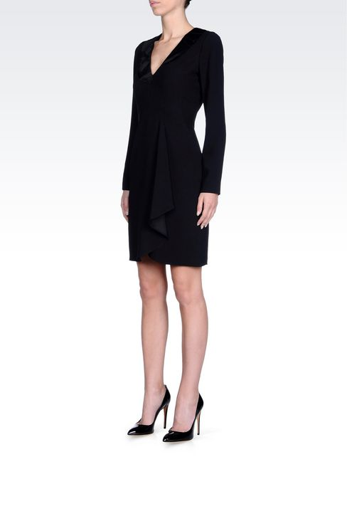 DRAPED DRESS IN CADY: Short Dresses Women by Armani - 3