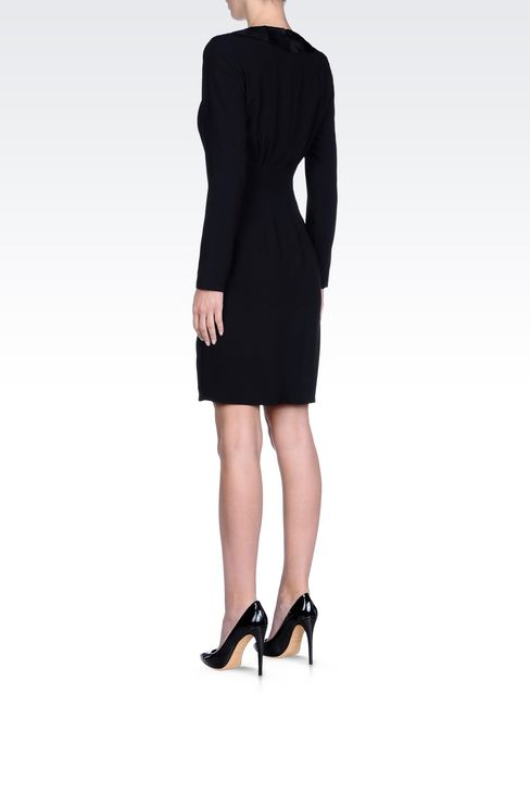 DRAPED DRESS IN CADY: Short Dresses Women by Armani - 4