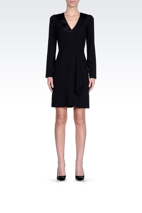DRAPED DRESS IN CADY: Short Dresses Women by Armani - 2