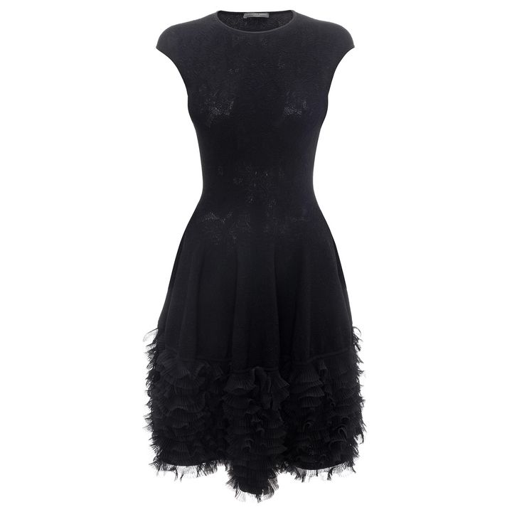 Alexander McQueen, Tonal Lace Knit Ruffle Dress