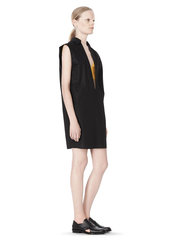 T by ALEXANDER WANG LOW V-NECK COLLARED SLEEVELESS TUNIC Short Dress Adult 12_n_e
