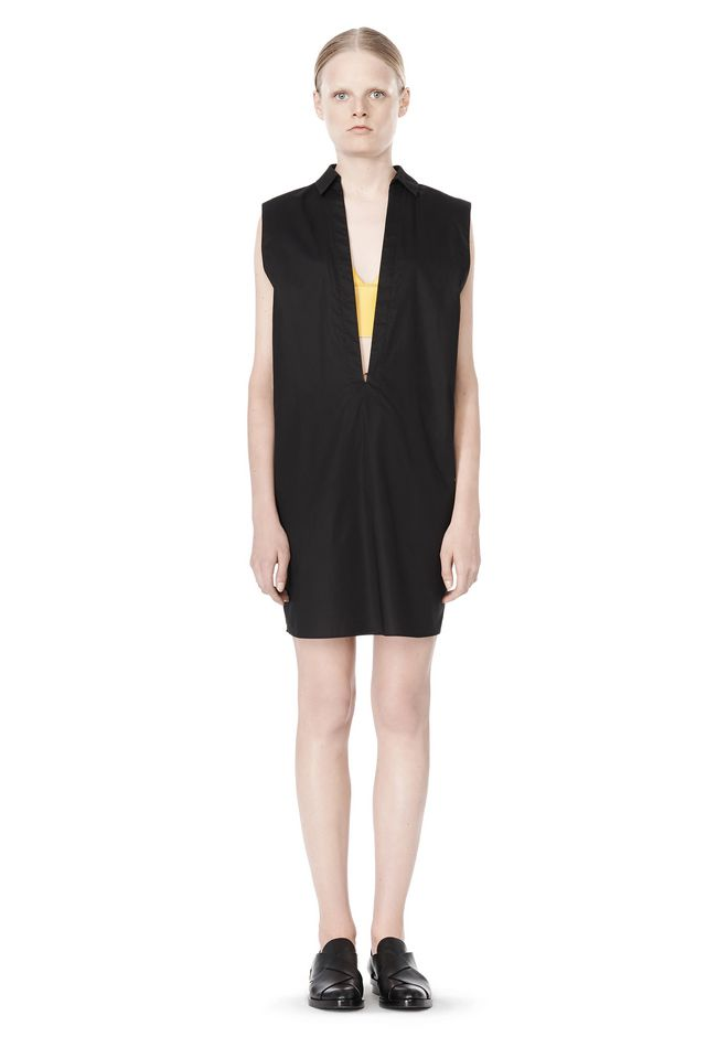 T by ALEXANDER WANG LOW V-NECK COLLARED SLEEVELESS TUNIC