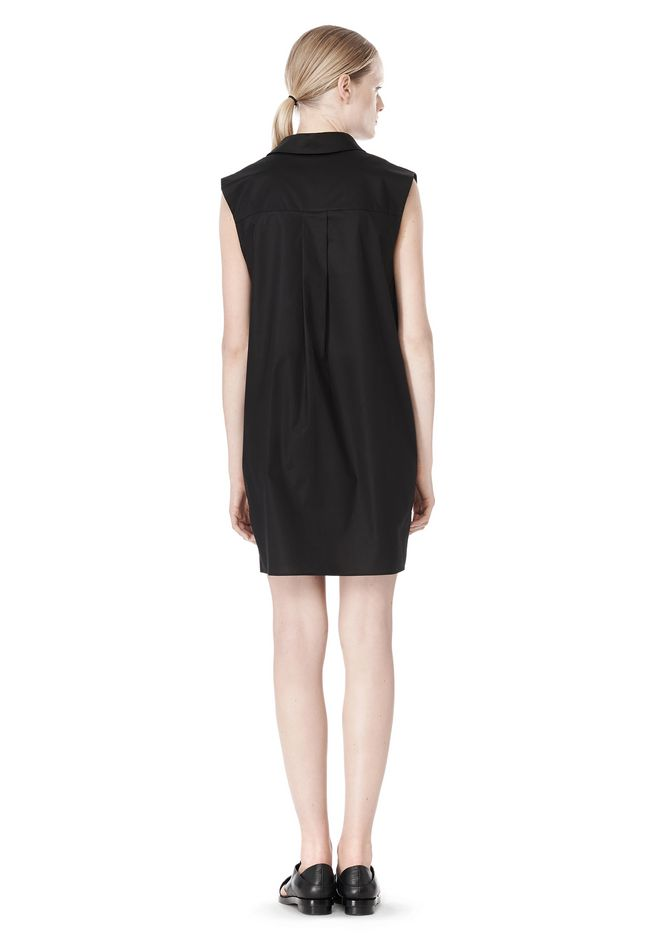 T by ALEXANDER WANG LOW V-NECK COLLARED SLEEVELESS TUNIC Short Dress Adult 12_n_r