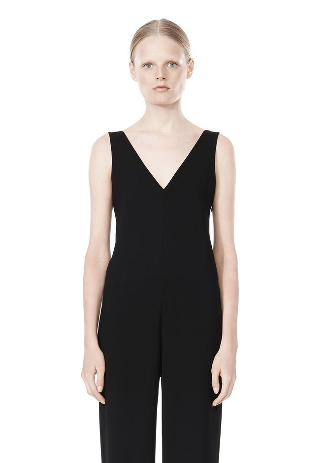 T by ALEXANDER WANG POLY CREPE V-NECK STRAP ROMPER Long dress Adult 12_n_d