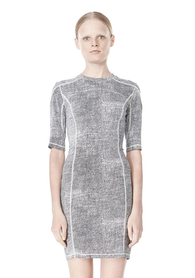 T by ALEXANDER WANG GEORGETTE SHORT SLEEVE SCUBA DRESS Short Dress Adult 12_n_d