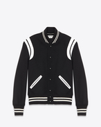 TEDDY JACKET IN Black Virgin Wool and Off-White LEATHER