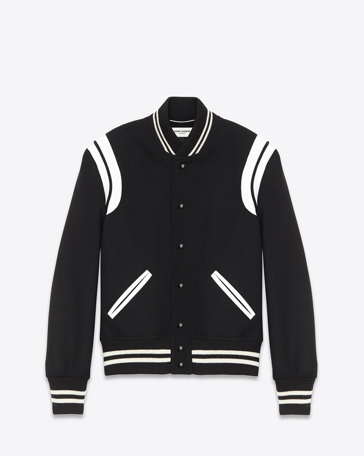 Saint Laurent Teddy Jacket In Black Virgin Wool And Off