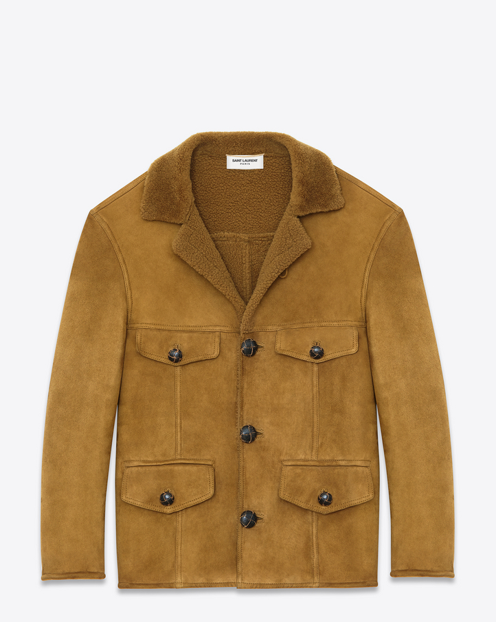 Saint Laurent Classic Caban Jacket In Tobacco Shearling