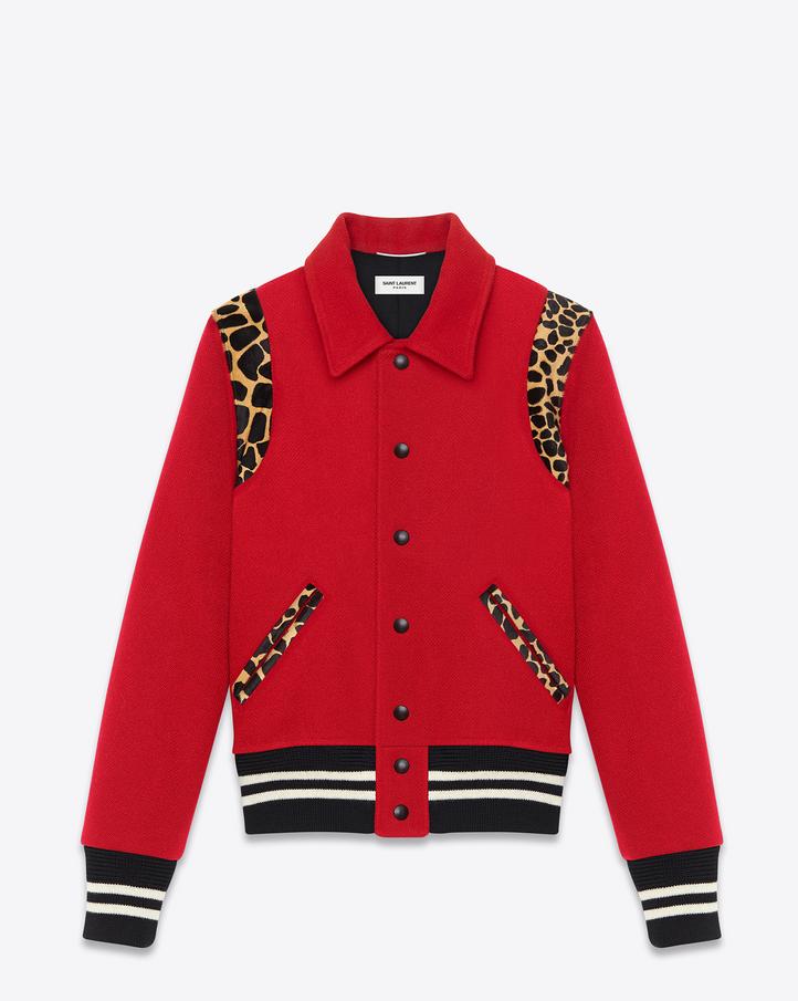 Saint Laurent Teddy Jacket In Red Virgin Wool And Black