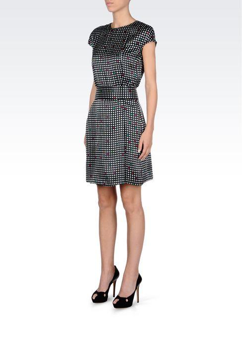 BELTED DRESS IN POLKA DOT SILK: Short Dresses Women by Armani - 3