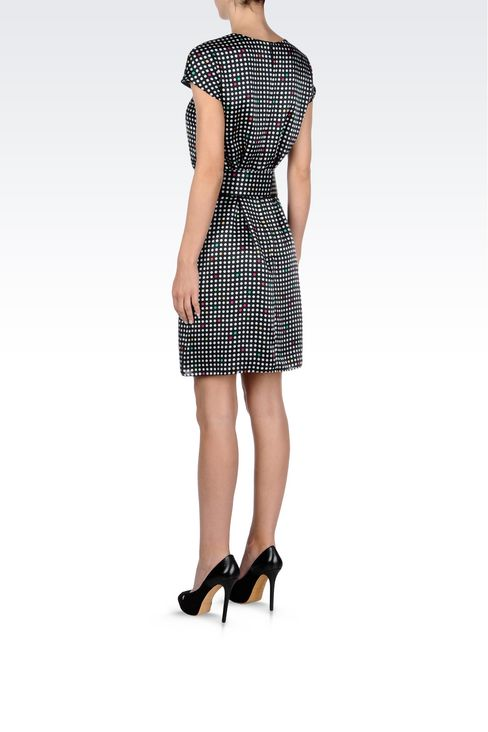 BELTED DRESS IN POLKA DOT SILK: Short Dresses Women by Armani - 4