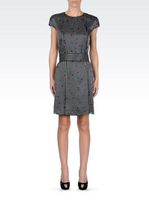 BELTED DRESS IN POLKA DOT SILK: Short Dresses Women by Armani - 2