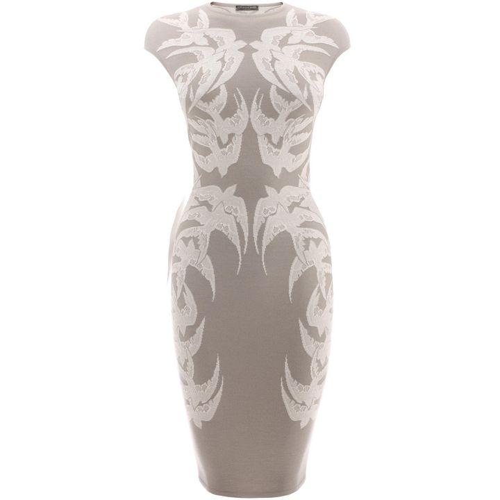 Alexander McQueen, Lace Spine Bird Jacquard Knit Pencil Dress