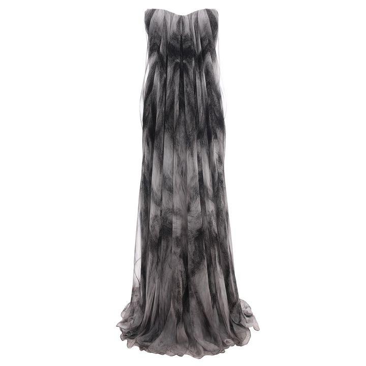 Alexander McQueen, Fox Print Draped Bustier Gown