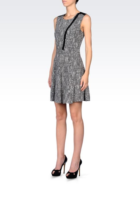 DRESS IN VISCOSE CRÊPE WITH ALL OVER PRINT: Short Dresses Women by Armani - 3