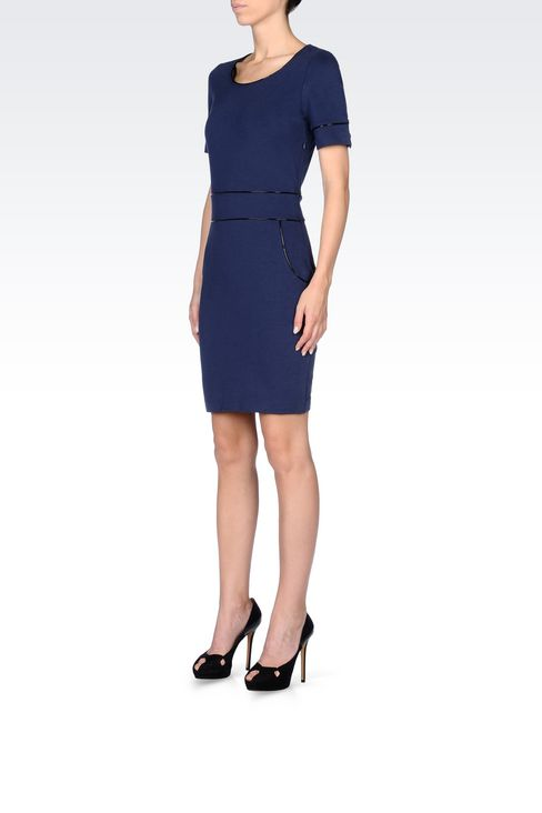 SHEATH IN MILANO RIB WITH PATENT PIPING: Jersey dresses Women by Armani - 3