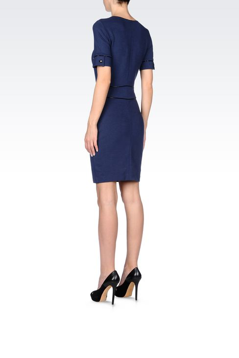 SHEATH IN MILANO RIB WITH PATENT PIPING: Jersey dresses Women by Armani - 4